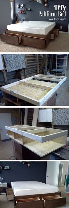 Check out the tutorial on how to build a DIY platform bed with drawers @istandarddesign #woodworkingbench