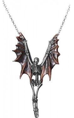 ☆ An 'Upir' Large Skeleton Necklace with Bat Wings :¦: Shop: The Black Angel ☆