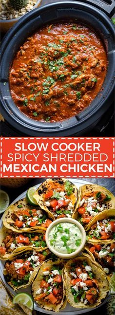mexican recipes with chicken Slow Cooker Spicy Shredded Mexican Chicken. Almost as easy to make as it is delicious. Great for tacos, enchiladas, burritos, and more! Slow Cooker Huhn, Crock Pot Slow Cooker, Slow Cooker Chicken, Spicy Recipes, Mexican Food Recipes, Dinner Recipes, Healthy Recipes, Slow Cooker Recipes Mexican, Mexican Spicy Chicken Recipe