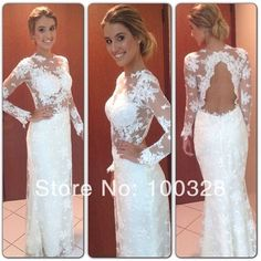 Custom Made Mermaid Floor-Length Court Train Full with Lace Sexy Scoop Open Back Lace Long Prom Dresses 2014 New Design