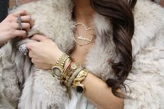 layered bracelets and watch look = <3