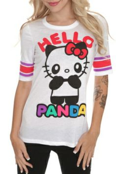 Hello Kitty Hello Panda Hockey Girls T-Shirt Hello Panda, Hello Kitty, Panda Shirt, Hockey Girls, Cat Shirts, Hot Topic, Pop Culture, Fur Coat, Graphic Sweatshirt