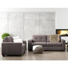 Corliving Club 2 Piece Tufted Grey Chenille Fabric Sofa Set Lzy 131 Z2 The Home Depot Leather Sofa Set Sofa Set Chenille Fabric Sofa