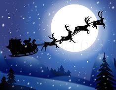 How to Draw Santas Sleigh Xmas Drawing, Christmas Drawing, Christmas Paintings, Christmas Art, Christmas Projects, Santa Sleigh Silhouette, How To Draw Santa, Favorite Christmas Songs, Silhouette Painting