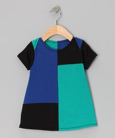 Take a look at this Blue & Teal Color Block Dress - Infant by Lois Eastlund on #zulily today!