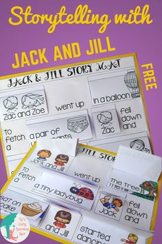 Storytelling with Jack and Jill helps develop early literacy skills essential for great readers and writers. The story options will get their brains going! Literacy Skills, Early Literacy, Writing Skills, Kindergarten Freebies, Classroom Freebies, Early Learning, Kids Learning, Learning Resources, Esl