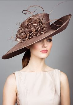 Rachel Trevor Morgan, S/S 2014. Fine straw sidesweep hat with hand made flowers and quills. #passion4hats