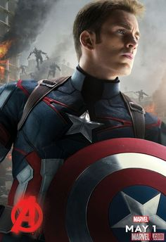 Chris Evans as Captain America stands tall against the Age of Ultron! In theaters May 1.