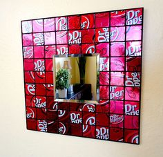 Recycled Soda Can Mosaic Tile Mirror Spicy by beforethelandfill, $22.00