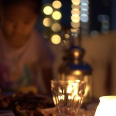 Dining with candles.