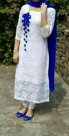 Lovely wear for casual day.white n blue Dress Neck Designs, Stylish Dress Designs, Designs For Dresses, Kurti Neck Designs, Stylish Dresses, Simple Dresses, Blouse Designs, Casual Dresses, Churidar Designs