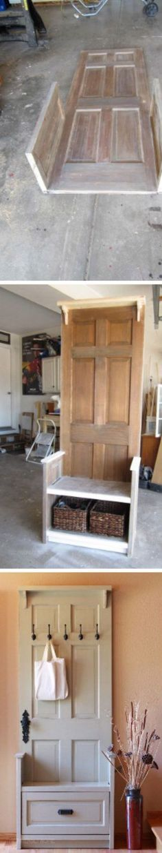 Old Door Hall tree bench by AugustDesignsWood on Etsy - Basket And Crate Old Door Bench, Entry Bench Diy, Hall Tree Bench, Old Wood Doors, Diy Wood Bench, Entryway Decor, Furniture Projects, Wood Furniture, Home Projects