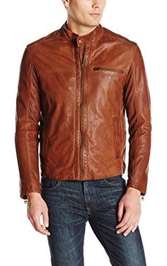 Cole Haan Men's Washed Lamb Leather Perforated Moto Jacket, British Tan, X-Large ❤ Cole Haan Men's Outerwear