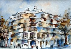 Barcelona. La Pedrera (Watercolor). La Pedrera, Barcelona, Inspirational, Watercolor, Painting, Art, World, Tourism, Watercolor Painting