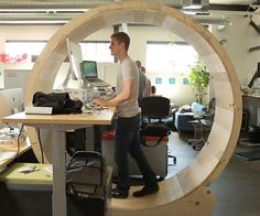 Maximize your productivity at the office by stimulating both the body and mind with the hamster wheel standing desk. You'll be able to get in a rousing cardio workout while you finish up the weekly TPS reports and offset the damage done by sitting –<a href='http://money.usnews.com/money/blogs/outside-voices-careers/2013/08/22/are-you-suffering-from-sitting-disease' rel='nofollow' target='_blank'>the si...