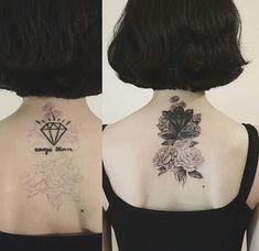 Neck Tattoo Cover Up, Cover Up Tattoos, Mandala Tattoo, I Tattoo, Upper Back Tattoos, Wildflower Tattoo, Henna Patterns, Body Mods, Flower Tattoos
