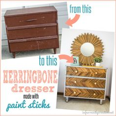 DIY Home Decor | Furniture | Old dresser need a pick-me-up? Use paint sticks to add a herringbone pattern to the drawer fronts!