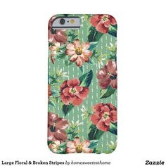 Large Floral & Broken Stripes Barely There iPhone 6 Case by HOme Sweetest Home