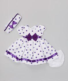 Purple Polka Dot A-Line Dress Set - Infant #zulily #zulilyfinds