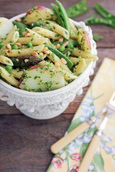 Penne with Potatoes, Asparagus, Peas and Arugula Pesto