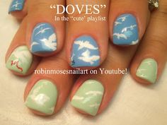 "Nail-art by Robin Moses: ""nail art"" ""cute nail art"" ""dove nail art"" ""dove nails"" ""fall leaves nail art"" ""autumn nail art"" ""bamboo nail art"" ..."