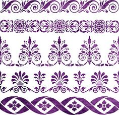 Free SVG Home Decorative Stencil 5 Borders Victorian Style. Stencil Patterns, Stencil Designs, Embroidery Patterns, Paint Patterns, Craft Robo, Stencils, Damask Stencil, Halloween Cupcake Toppers, Silhouette Cameo Projects