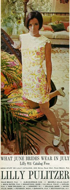 Honeymoon wear - of course! Lilly Pulitzer ad from June 1968