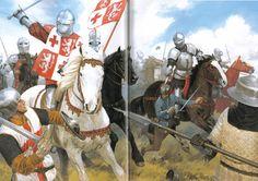 Batalla de Patay 1.429. Los jinetes ingleses atacan a los arqueros ingleses que aún no habían colocado las estacas. Autor Graham Turner