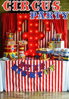 Brittany S's Birthday / - TJ and Taylor's Circus Party at Catch My Party Circus Carnival Party, Circus Theme Party, Carnival Birthday Parties, Circus Birthday, First Birthday Parties, Birthday Party Themes, Boy Birthday, First Birthdays, Birthday Ideas