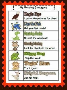 Elementary reading strategies. Use an animal to help support the child without giving them the word.