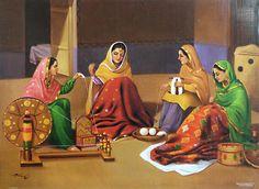Old Punjabi Culture - Punjabi Women Spinning the Charkha