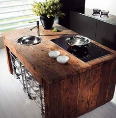 Amazing Relcaimed Wood Kitchen Island