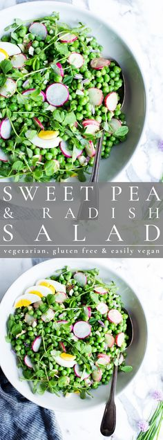 Sweet, plump peas shine in this sweet pea salad recipe. Simple to make using fresh or frozen sweet peas, this healthy green pea salad is easily portable and make ahead ready! This recipe is vegetarian + gluten free and easily vegan. Fresh Pea Recipes, Pea Salad Recipes, Whole Food Recipes, Best Gluten Free Recipes, Healthy Salad Recipes, Vegetarian Recipes, Healthy Food, Radish Salad, Food Salad
