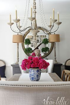 These buffet lamps from HomeGoods help add balance to this dining room and the beautiful bouquet of dark pink peonies adds a pop of color. Decor, Room, French Country Decorating, Cozy House, Dining Room Buffet, Room Inspiration, Buffet Lamps, English Decor, Dear Lillie