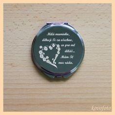 Kovové zrcátko s rytinou - poděkování mamince od dcery