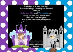 Princess Knight Birthday Invitations Printable or Printed by Cutie Patootie Creations www.cutiepatootiecreations.com