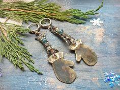Christmas Mitten Earrings  cupronickel gift New Year Winter
