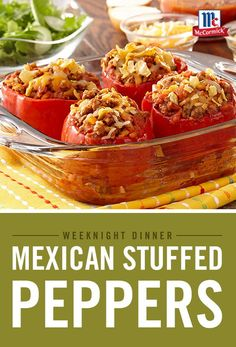 Bell peppers stuffed with taco-seasoned ground beef and rice are easy enough to make for a weeknight dinner. In this no-fuss recipe, there's no need to pre-cook the bell peppers. Stuffed Bell Peppers Turkey, Stuffed Peppers With Rice, Mexican Stuffed Peppers, Spanish Rice Recipe With Ground Beef, Ground Beef Recipes Easy, Ground Beef Taco Seasoning, Ground Turkey Tacos, Mexican Food Recipes, Mexican Dishes
