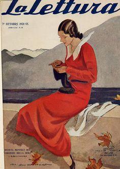 22 donna in rosso che lavora a maglia - Marcello Dudovich