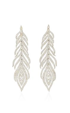 White Diamond Feather Earrings by SUTRA for Preorder on Moda Operandi/For Short New Year's Eve dress -- flapper 1920's look with blonde lob/bob