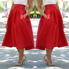 Vintage Women Stretch High Waist Skater Flared Pleated Swing Long Skirt Dress #Unbranded #Pleated