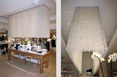 huge glass chandeliers at The White Company shop Symons Street London by Sarah Feather Design