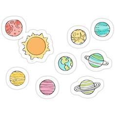 'Planet Pack' Sticker by Colby Charles Preppy Stickers, Cool Stickers, Printable Stickers, Laptop Stickers, Journal Stickers, Planner Stickers, Homemade Stickers, Tumblr Stickers, Aesthetic Stickers
