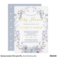 Chic Black White Stripe Vintage Floral Baby Shower Card This