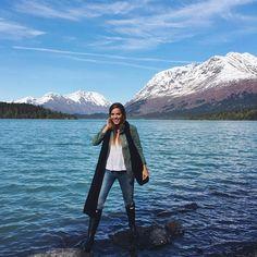 We just arrived in Alaska and we're already in heaven  @carly @garrettmccarthy @tberolz #alaska #gmgtravels #madsallylake #mothernature - Julia Engel (Gal Meets Glam) (@juliahengel)