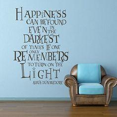"""MairGwall Harry Potter di Albus Silente, adesiva, scritta """"la felicità è emerso, parole Inspirational Art-Quadro da parete"""", Vinile, marrone scuro, 31""""h x22""""w: Amazon.it: Casa e cucina"""