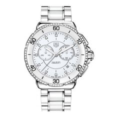 TAG Heuer Ladies' Formula 1 Chronograph White Dial Watch with Diamonds