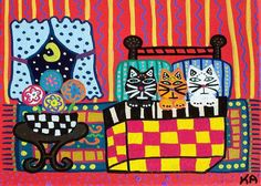 Kerri Ambrosino Mexican Folk  Art PRINT All Tucked In Cats in Bed Sleeping Quilt Moon Flowers on Etsy, $20.00