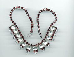 Vintage Choker Style Red and Clear Rhinestone by TimeWarpJewelry, $48.00