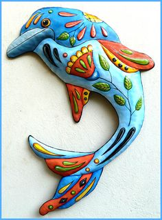 Painted Metal Dolphin Wall Hanging, Metal Decor, Whimsical Art, Poolside Decor, Funky Art, Metal Wall Art, Nautical Decor - J-458-BL by TropicAccents on Etsy